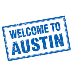 Austin blue square grunge welcome isolated stamp vector
