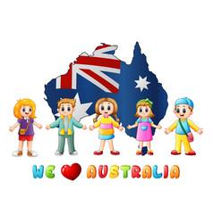 australia day national flag map children love coun vector image