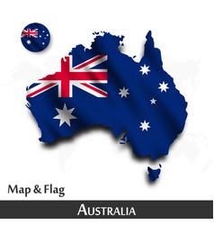 Australia map and flag waving textile design vector