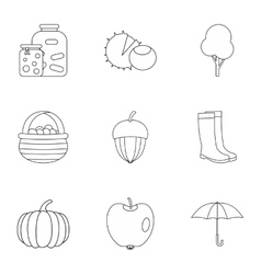 Autumn weather icons set outline style vector image