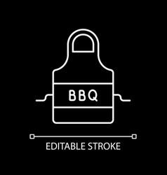 Bbq apron white linear icon for dark theme vector