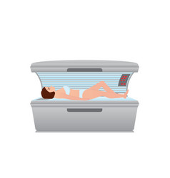 beautiful sexy woman tanning in solarium on white vector image