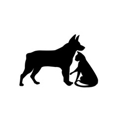 black silhouette of dog and cat isolated on white vector image