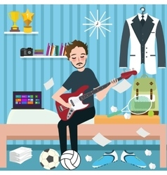 boys man room holding guitar in dorm play music vector image