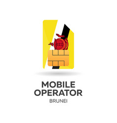 Brunei mobile operator sim card with flag vector