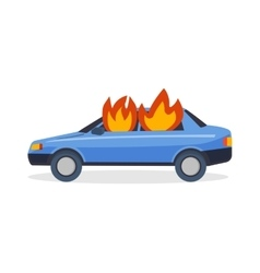 Burning car fire suddenly started engulfing all vector image