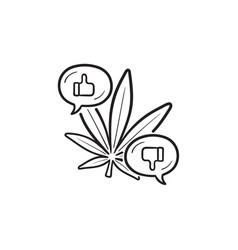 Cannabis bad and good effects hand drawn outline vector