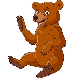 Cartoon funny bear waving isolated on white backgr vector image
