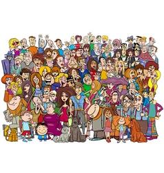 Cartoon people in the crowd vector