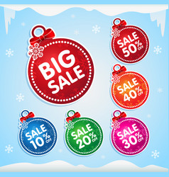 christmas balls stickers for christmas sale vector image