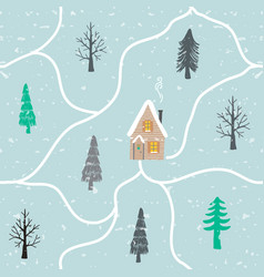 christmas house seamless pattern vector image