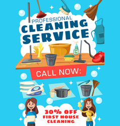 Cleaning service poster with house clean tools vector