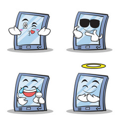 collection set tablet character cartoon style vector image