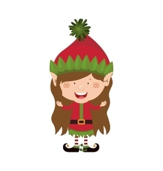 color image with christmas gnome girl vector image
