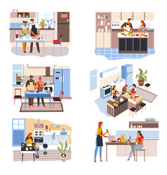 Couples and friends at kitchen people cooking vector