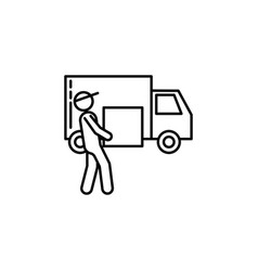 Courier truck signs and symbols can be used for vector