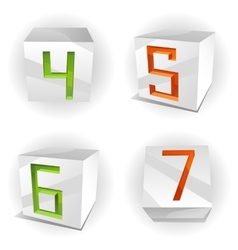 Cube alphabet numbers 4567 vector