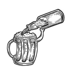 cup pours beer from bottle engraving vector image