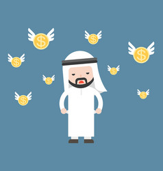 Cute arab businessman broke and short of money vector