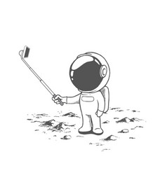 Cute astronaut make a selfie vector