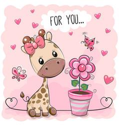 Cute cartoon giraffe with pink flower vector