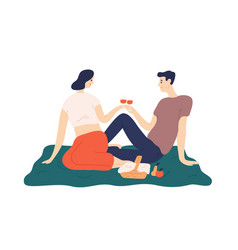 Cute couple drinking wine during romantic date vector