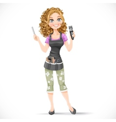 Cute girl hairdresser with hair clipper vector image vector image
