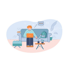 distant work and education semi flat vector image
