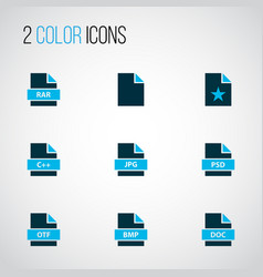 document icons colored set with favorite file vector image