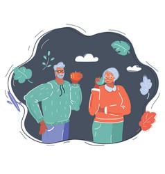 elderly couple eat apple vector image