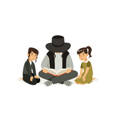Father with children sitting on floor and reading vector