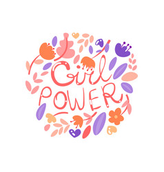 feminist girl power lettering with floral elements vector image