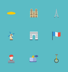 Flat icons pantomime cathedral tower and other vector