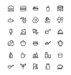 Food and drinks Line Icons 8 vector