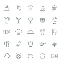 food icons set For web site design and mobile apps vector image