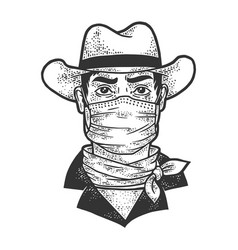 gangster cowboy in medical mask sketch vector image