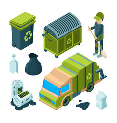 garbage recycling isometric city cleaning service vector image