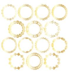 Gold circle frames vector