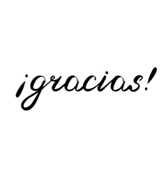Gracias Thank you in Spanish brush lettering vector