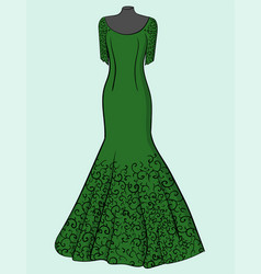 green dress with black lace on a blue background vector image