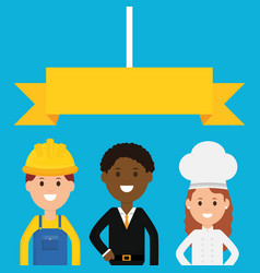 group professionals workers vector image
