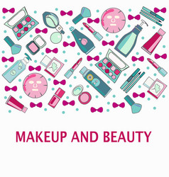 hand drawn pattern of make-up beauty and healthy vector image
