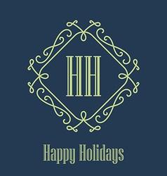 Happy holidays festive card monograms style vector