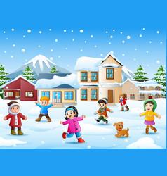 Happy kid playing in snowing village vector