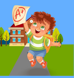 Happy school boy with good a grade poster vector