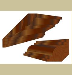 Hardwood stained cornice vector