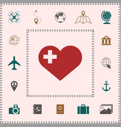 Heart with medical cross elements for your vector