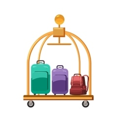 Hotel baggage cart icon cartoon style vector