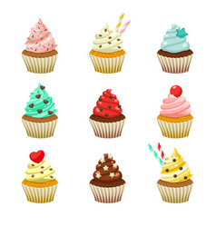 icon set yummy colored cupcakes vector image