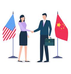 international business partnership man and woman vector image